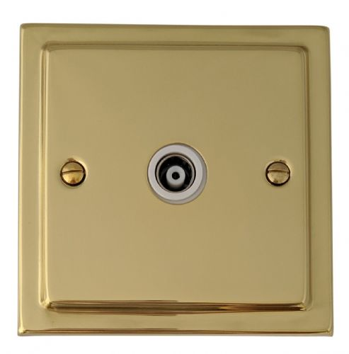 G&H TB35W Trimline Plate Polished Brass 1 Gang TV Coax Socket Point